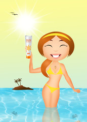 girl with solar lotion