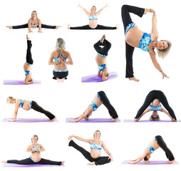 Collage of pregnant fitness woman make stretch on yoga  pose