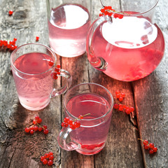 Cool drink of red currant in glass cup