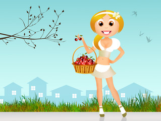 Girl with cherries in the basket