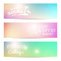 set of summer background vector banner