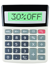 Calculator with 30%OFF on display on white background