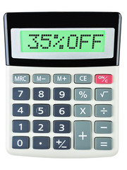 Calculator with 35%OFF on display on white background