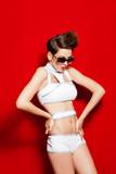 girl swimsuit model sunglasses studio