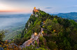 Leinwanddruck Bild - San Marino Castle at Sunrise