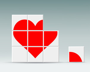 red heart folded cubes