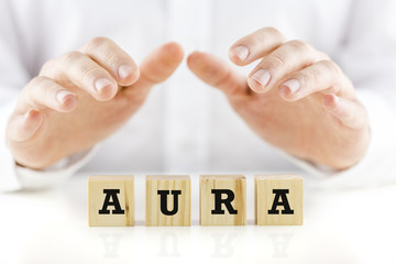 Word - Aura - on wooden cubes