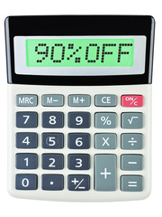 Calculator with 90%OFF on display on white background