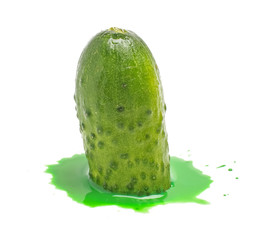 Melting cucumber isolated on the white background