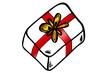 Geschenk mit roter Schlaufe (Weihnachtsgeschenk)