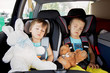 Two boys in car seats, travelling - 67249572