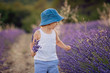 Adorable cute boy with a hat in a lavender field