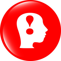 Human head with exclamation mark icon, web button