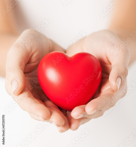 female hands with small red heart