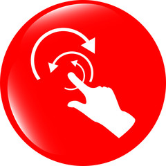 hand and abstract arrow web app button, web icon
