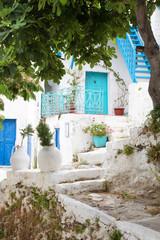 Griechenland: türkis und blau - traditionelle Architektur