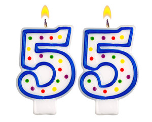Birthday candles number fifty five isolated on white background