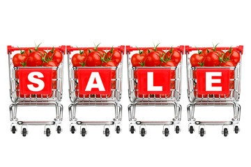 sale concept - shopping carts with tomatoes