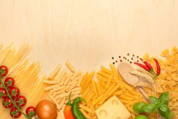 pasta, emmental and fresh vegetables