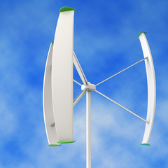 small wind turbine in a blue sky background