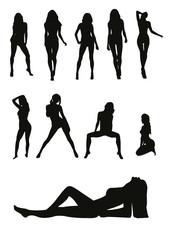 bikini girls silhouettes