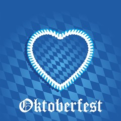 Oktoberfest heart blue background vector