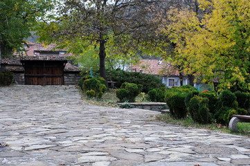 Cobbled Courtyard in the Fall