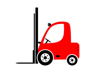 Red forklift truck on white background