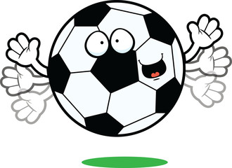 Cartoon Soccer Ball Happy
