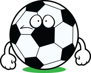 Cartoon Soccer Ball Sad
