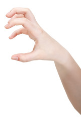 side view of open claws palm - hand gesture