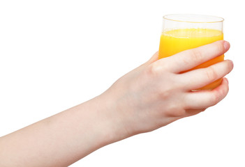 glass with fresh orange juice in hand
