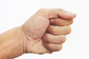 Guy hand on isolated white