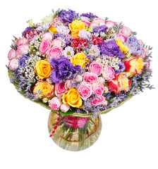 bouquet of flowers in glass vase isolated
