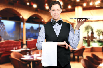 Waitress serving in a resaturant