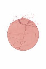 Crushed blush on white background