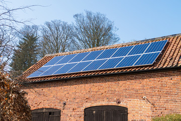 Solar panels on a farm building