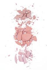 Crushed blushes on white background