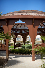 Romantic lounge gazebo at tropical resort