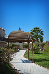 Beautiful wooden gazebo on the hotel