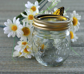 Empty glass jar.