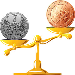 vector German mark versus the euro