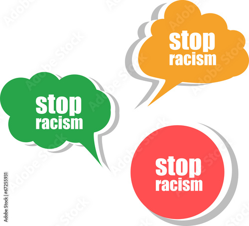 stop racism word on modern banner design template. set