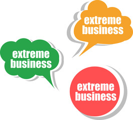 extreme business. Set of stickers, labels, tags