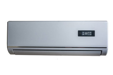 Silver air conditioner,   isolated on white background
