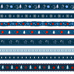 Christmas ribbon seamless pattern