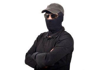 hooded man with sunglasses