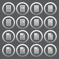 Vector of transparent icon, document set on isolated background