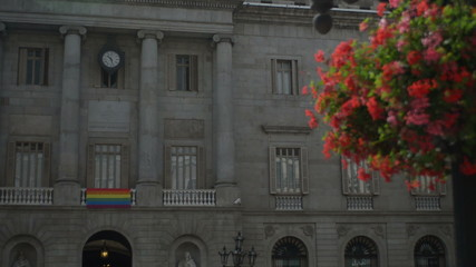 Barcelona mayor building with gay acceptance flag