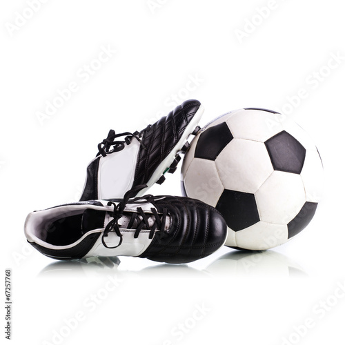 canvas print picture Soccer ball and soccer shoes